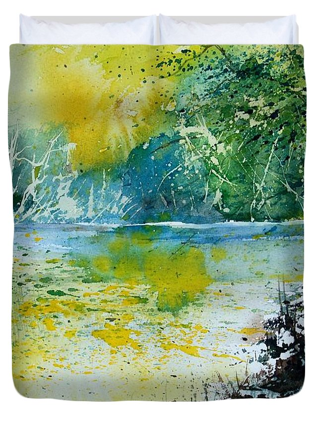 Pond Duvet Cover featuring the painting Watercolor 051108 by Pol Ledent