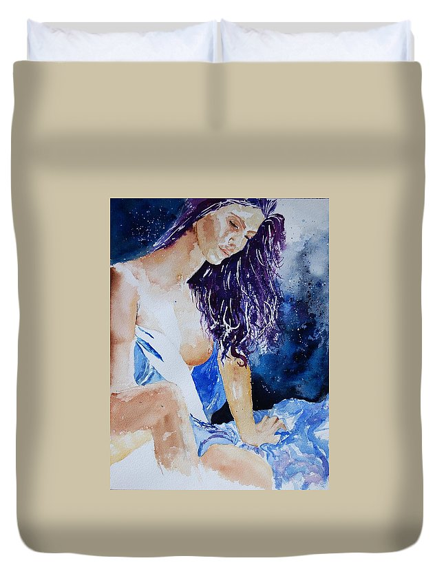Nude Duvet Cover featuring the painting Watercolor 070308 by Pol Ledent