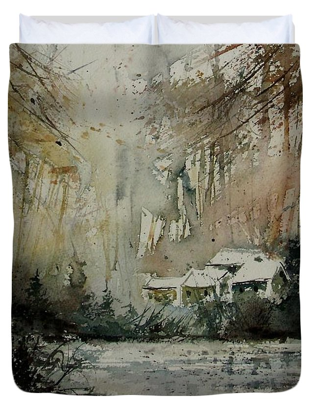 Landscape Duvet Cover featuring the painting Watercolor 070608 by Pol Ledent