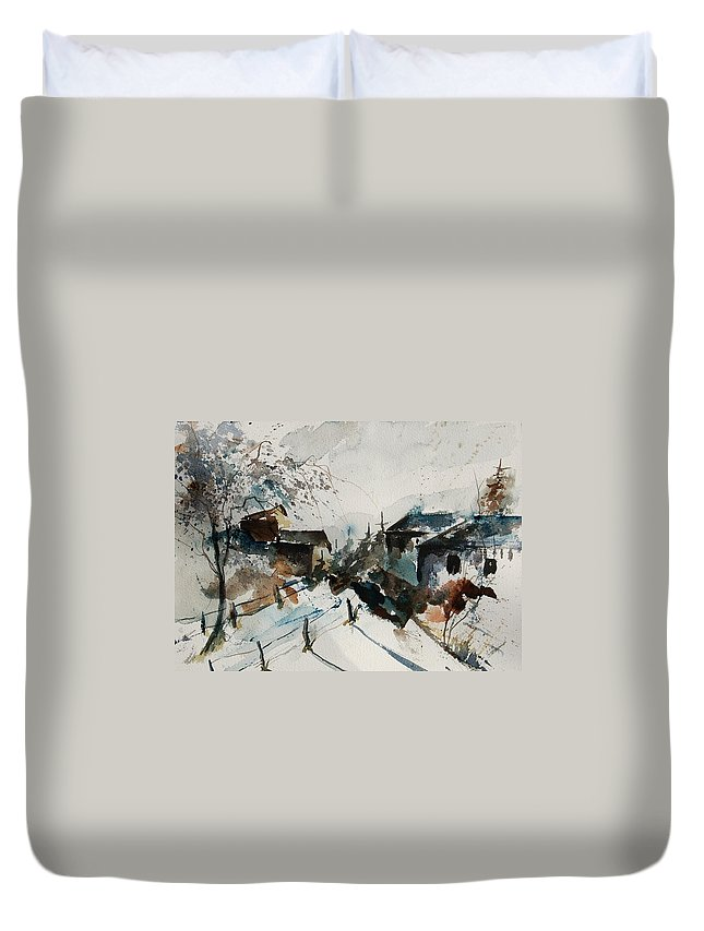 Winter Duvet Cover featuring the painting Watercolor 080707 by Pol Ledent