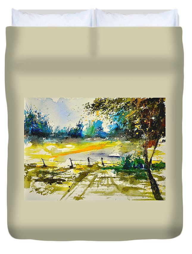 Landscape Duvet Cover featuring the painting Watercolor 112040 by Pol Ledent