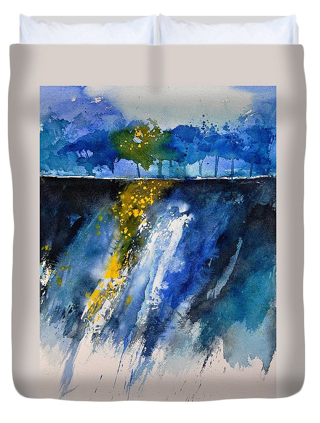 Abstract Duvet Cover featuring the painting Watercolor 119001 by Pol Ledent
