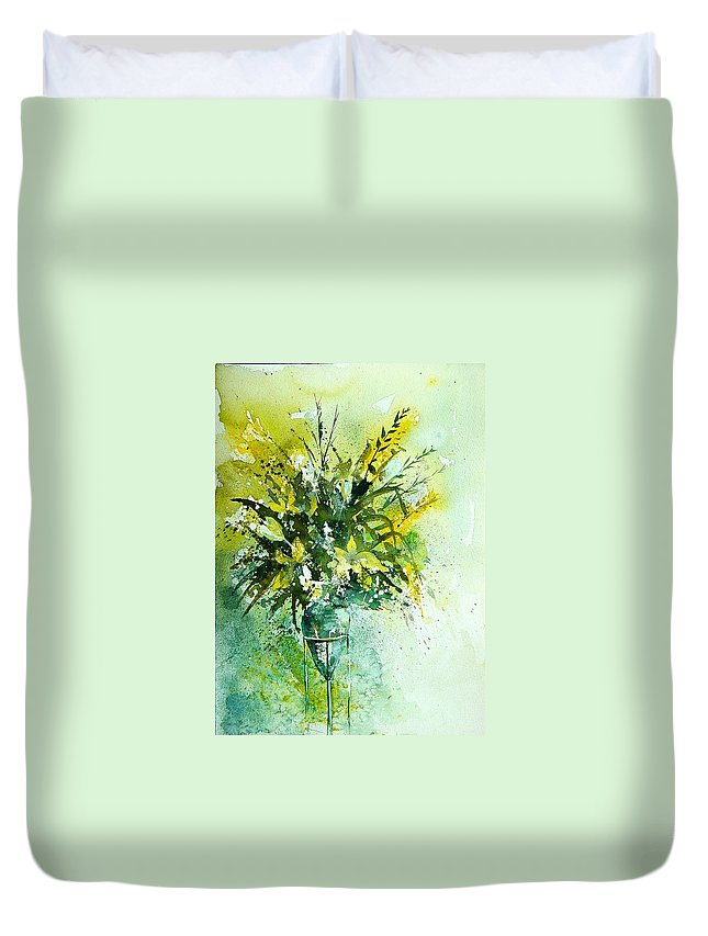 Flowers Duvet Cover featuring the painting Watercolor 120406 by Pol Ledent
