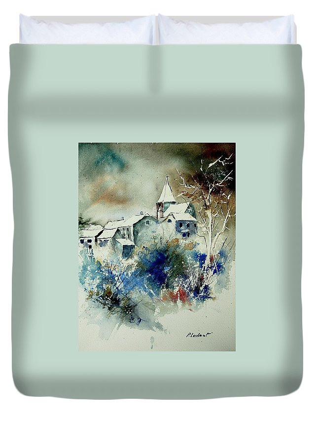 Winter Duvet Cover featuring the painting Watercolor 140408 by Pol Ledent