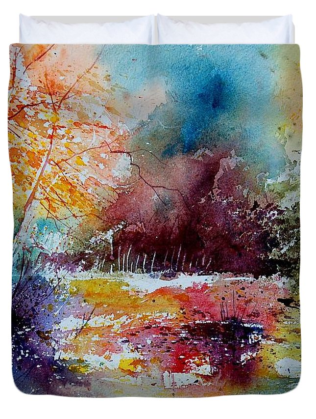 Pond Duvet Cover featuring the painting Watercolor 140908 by Pol Ledent