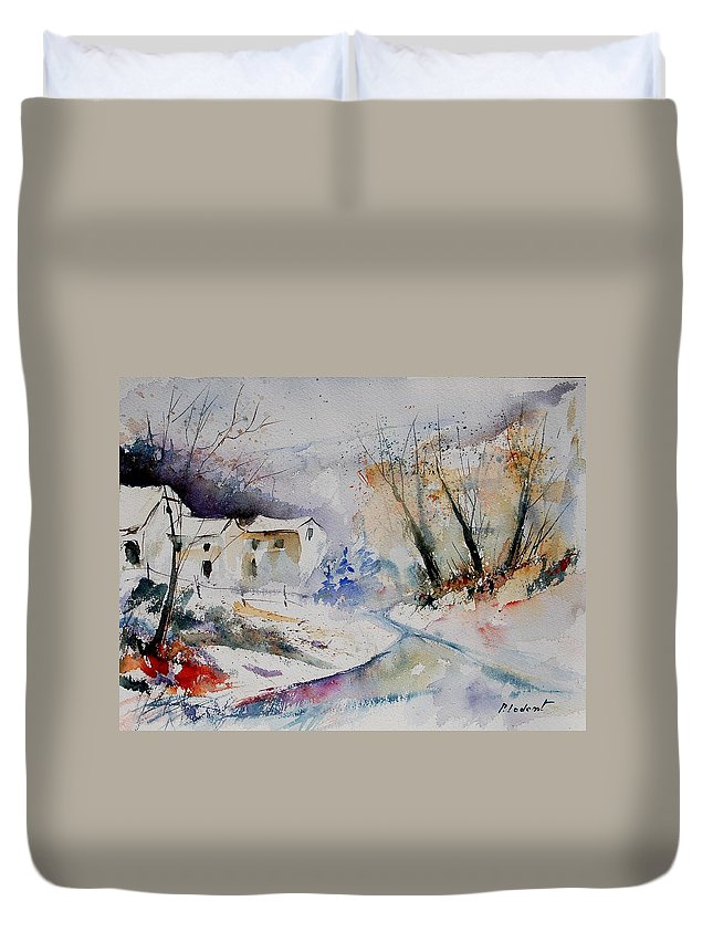 Village Duvet Cover featuring the painting Watercolor 15823 by Pol Ledent