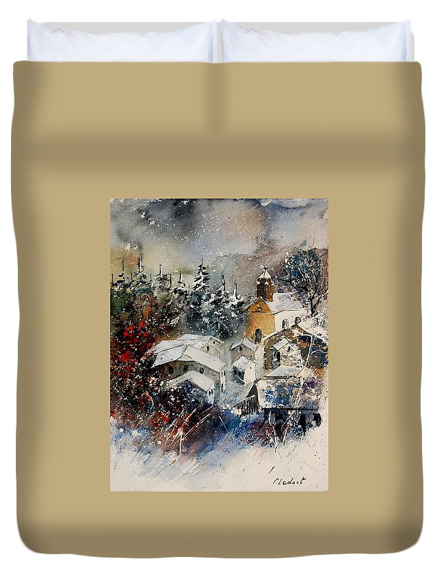 Winter Duvet Cover featuring the painting Watercolor 160908 by Pol Ledent