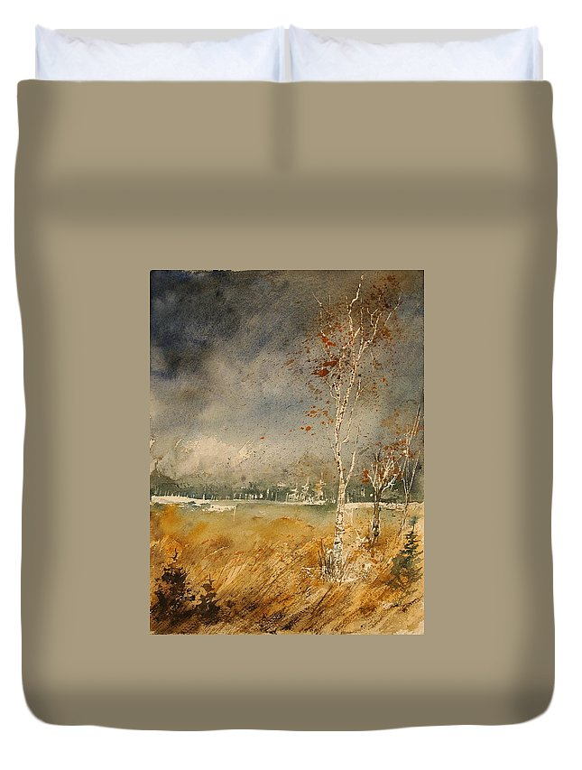 Tree Duvet Cover featuring the painting Watercolor 190307 by Pol Ledent