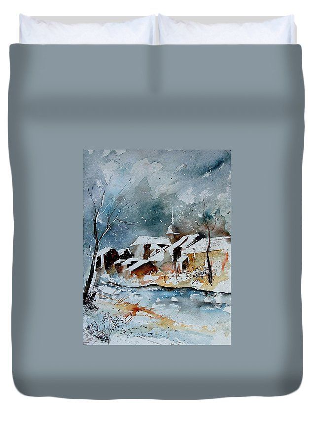 Winter Duvet Cover featuring the painting Watercolor 190607 by Pol Ledent