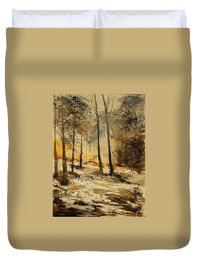 Tree Duvet Cover featuring the painting Watercolor 191106 by Pol Ledent