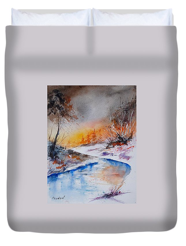 Snow Duvet Cover featuring the painting Watercolor 200308 by Pol Ledent