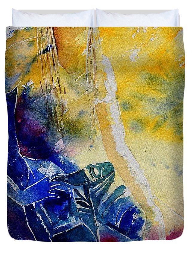 Girl Nude Duvet Cover featuring the painting Watercolor 21546 by Pol Ledent