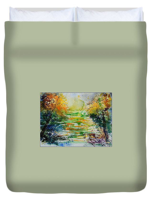 Water Duvet Cover featuring the painting Watercolor 230507 by Pol Ledent