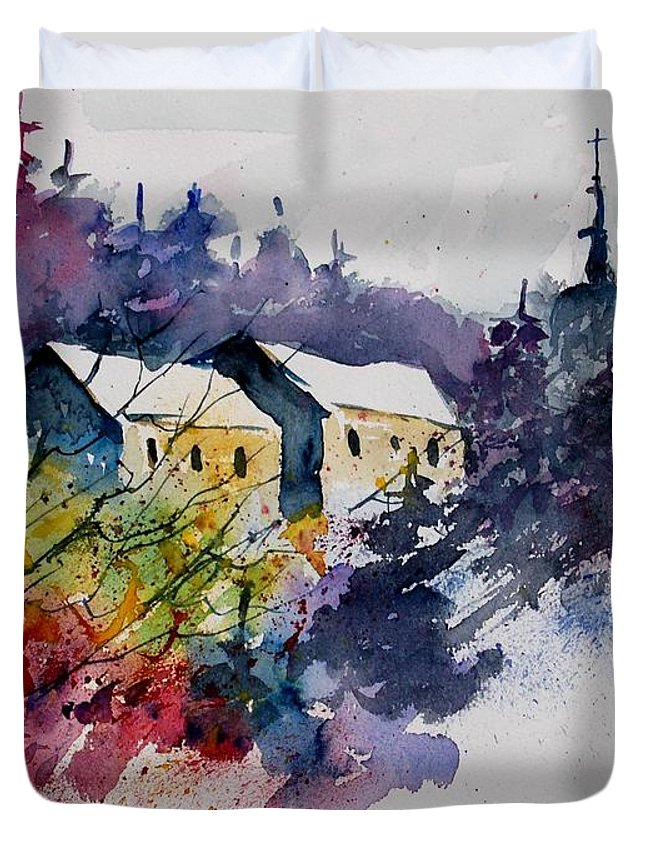 River Duvet Cover featuring the painting Watercolor 231207 by Pol Ledent