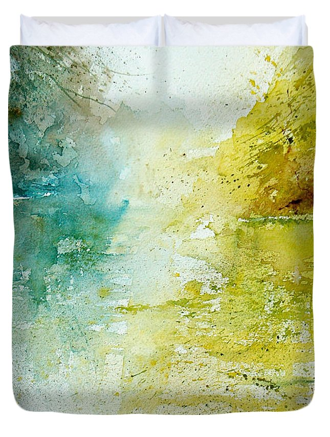 Pond Nature Landscape Duvet Cover featuring the painting Watercolor 24465 by Pol Ledent