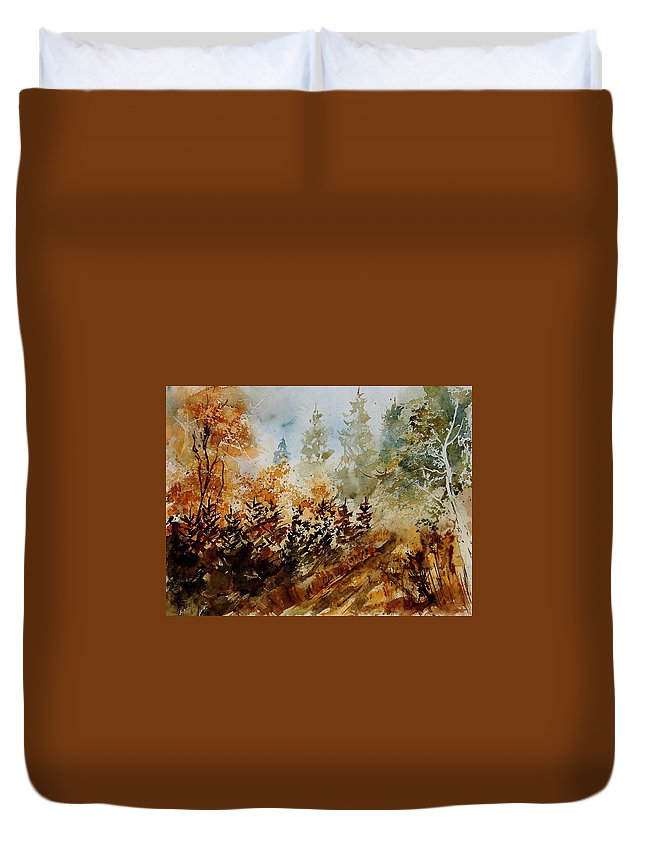 Tree Duvet Cover featuring the painting Watercolor 250607 by Pol Ledent