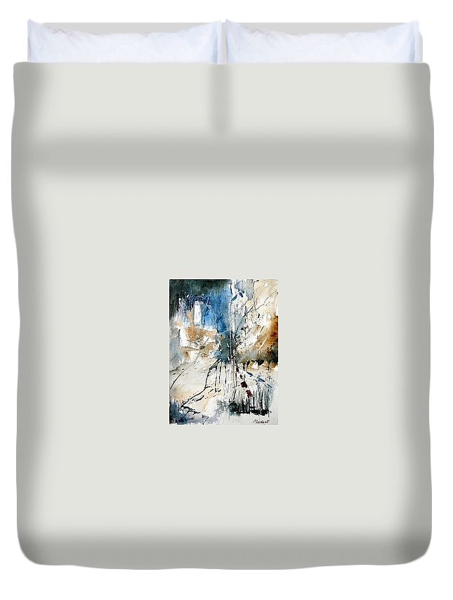 Abstract Duvet Cover featuring the painting Watercolor 251108 by Pol Ledent