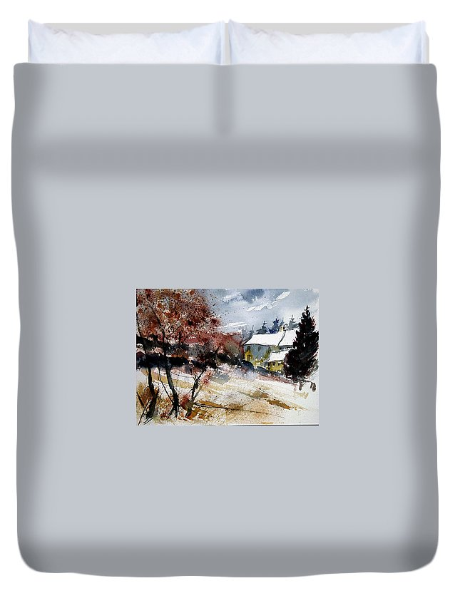 Winter Duvet Cover featuring the painting Watercolor 251205 by Pol Ledent