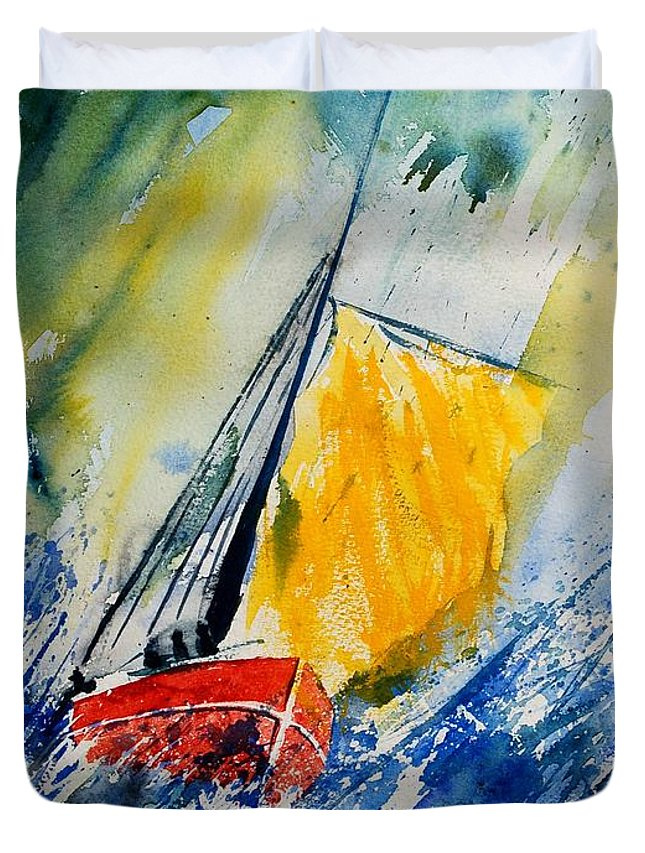 Sea Waves Ocean Boat Sailing Duvet Cover featuring the painting Watercolor 280308 by Pol Ledent