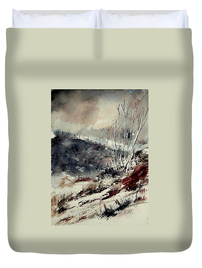 Winter Duvet Cover featuring the painting Watercolor 281207 by Pol Ledent