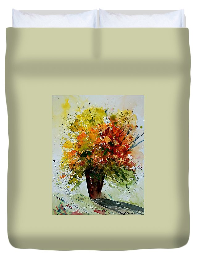 Flowers Duvet Cover featuring the painting Watercolor 290806 by Pol Ledent