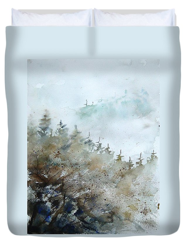 Tree Duvet Cover featuring the painting Watercolor 356214 by Pol Ledent