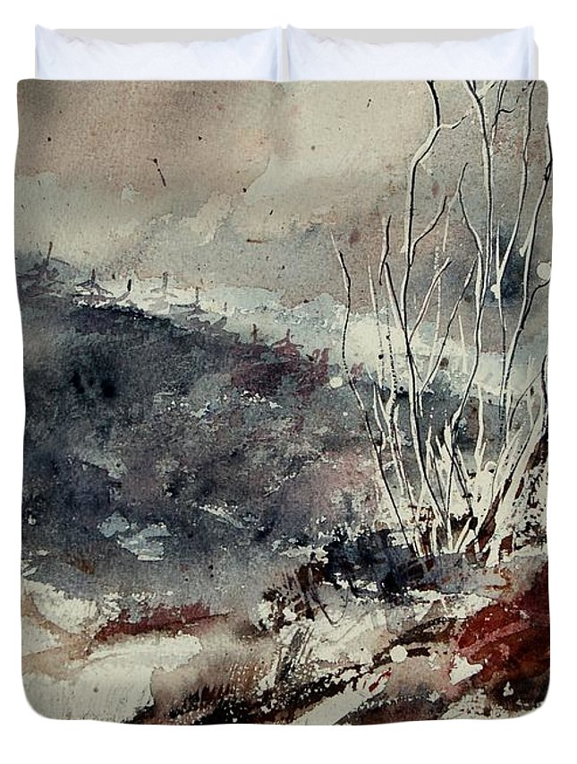 Snow Duvet Cover featuring the print Watercolor 446 by Pol Ledent