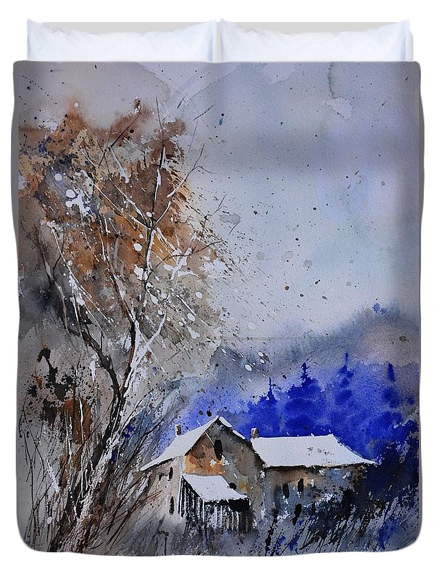 Landscape Duvet Cover featuring the painting Watercolor 45512113 by Pol Ledent