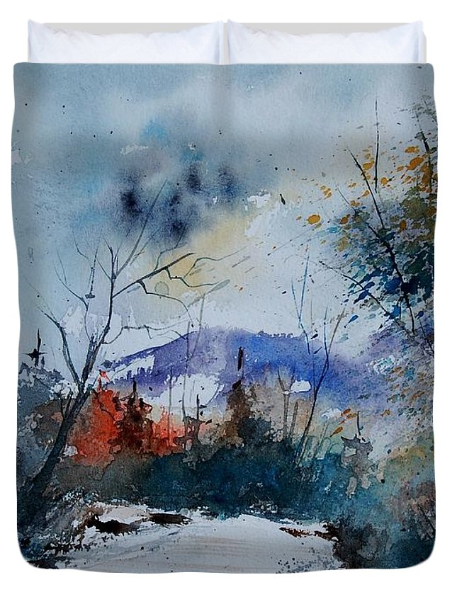 Landscape Duvet Cover featuring the painting Watercolor 802120 by Pol Ledent