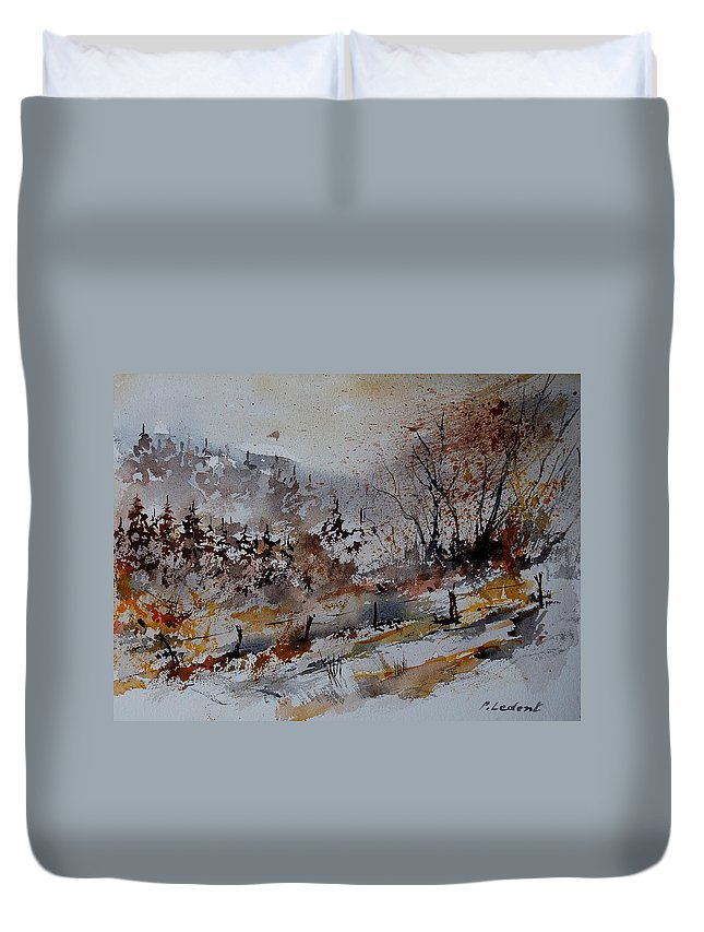Landscape Duvet Cover featuring the painting Watercolor 900140 by Pol Ledent