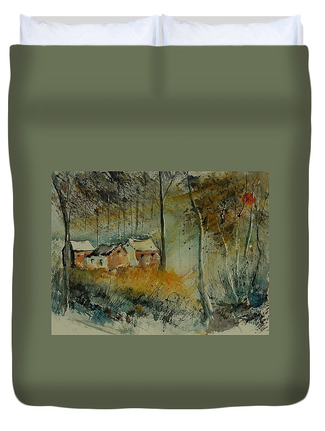 Landscape Duvet Cover featuring the painting Watercolor 900170 by Pol Ledent