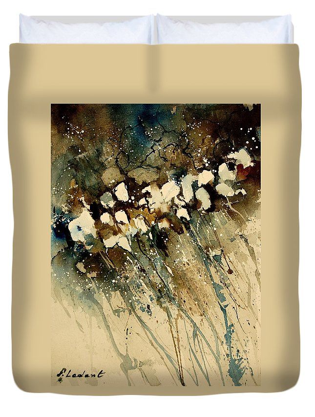 Abstract Duvet Cover featuring the painting Watercolor 901140 by Pol Ledent