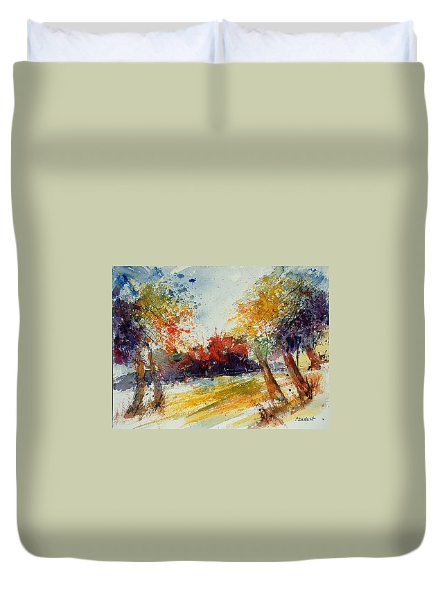Tree Duvet Cover featuring the painting Watercolor 902010 by Pol Ledent