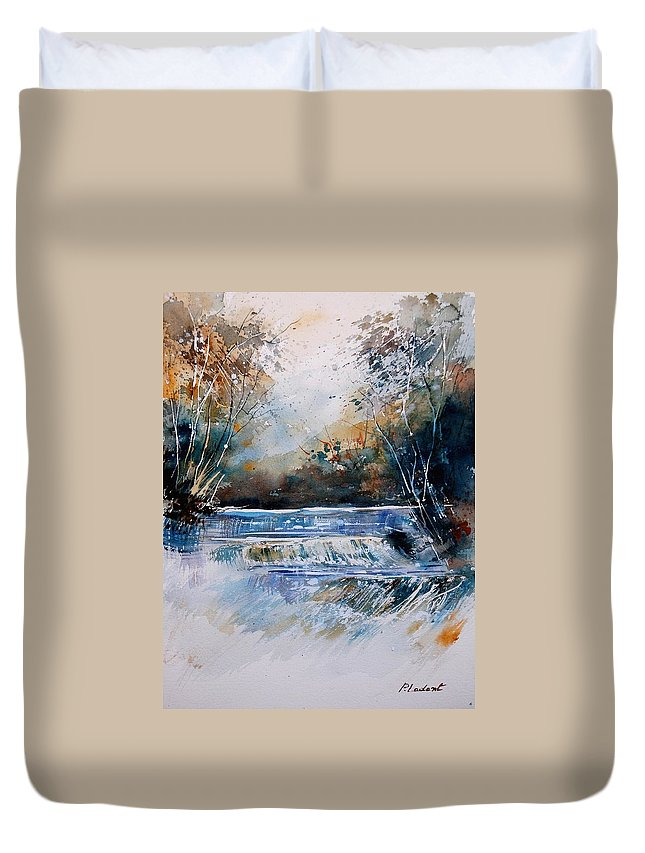 Water Duvet Cover featuring the painting Watercolor 902021 by Pol Ledent