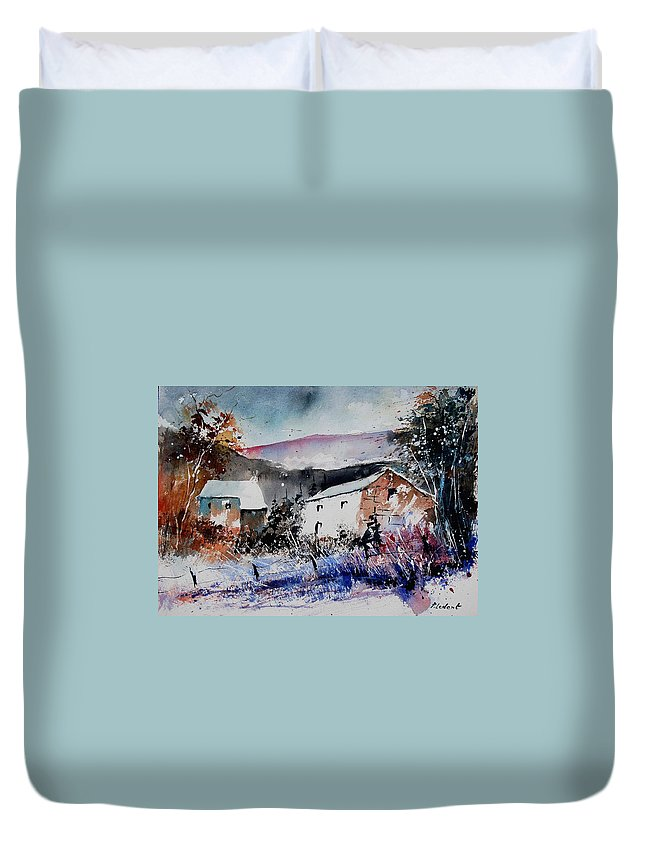 Winter Duvet Cover featuring the painting Watercolor 902080 by Pol Ledent