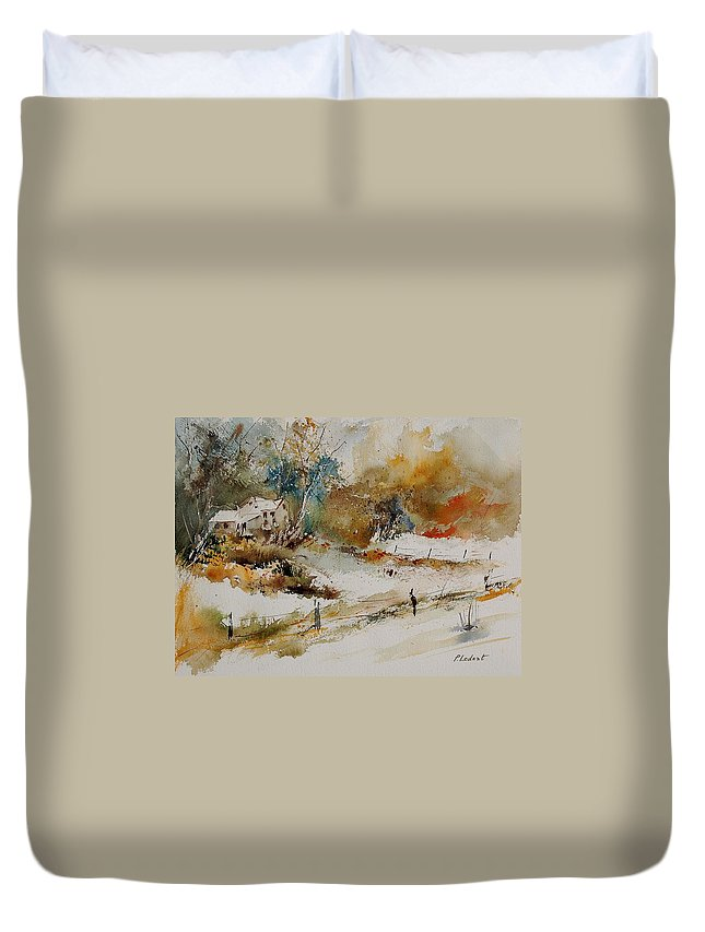 Tree Duvet Cover featuring the painting Watercolor 905061 by Pol Ledent