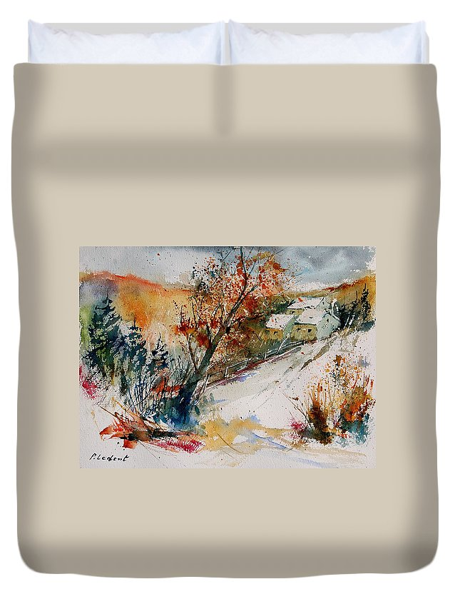 Tree Duvet Cover featuring the painting Watercolor 908002 by Pol Ledent