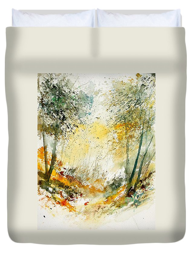 Tree Duvet Cover featuring the painting Watercolor 908021 by Pol Ledent