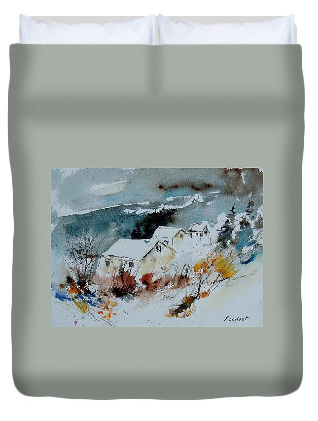 Winter Duvet Cover featuring the painting Watercolor 9090723 by Pol Ledent