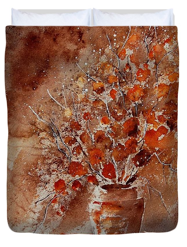 Poppies Duvet Cover featuring the painting Watercolor Autumn Bunch by Pol Ledent