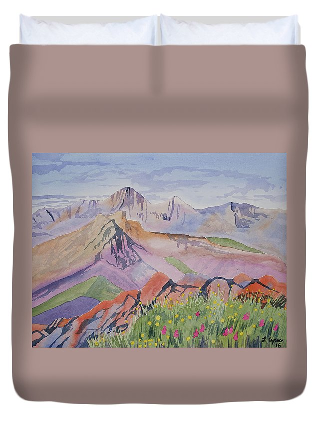 Blanca Peak Duvet Cover featuring the painting Watercolor - Blanca And Ellingwood Landscape by Cascade Colors