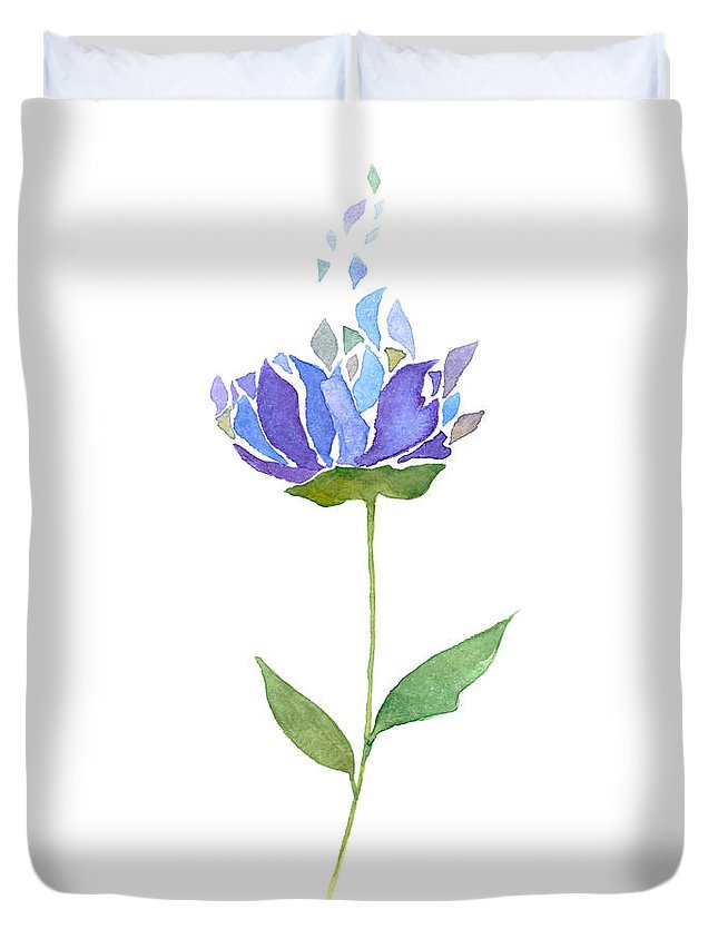 Printable Art Duvet Cover featuring the painting Watercolor Blue And Purple Flower by Kseniya Kurbatova