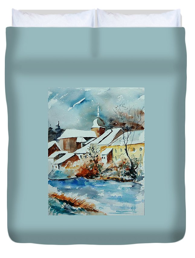 Landscape Duvet Cover featuring the painting Watercolor Chassepierre by Pol Ledent