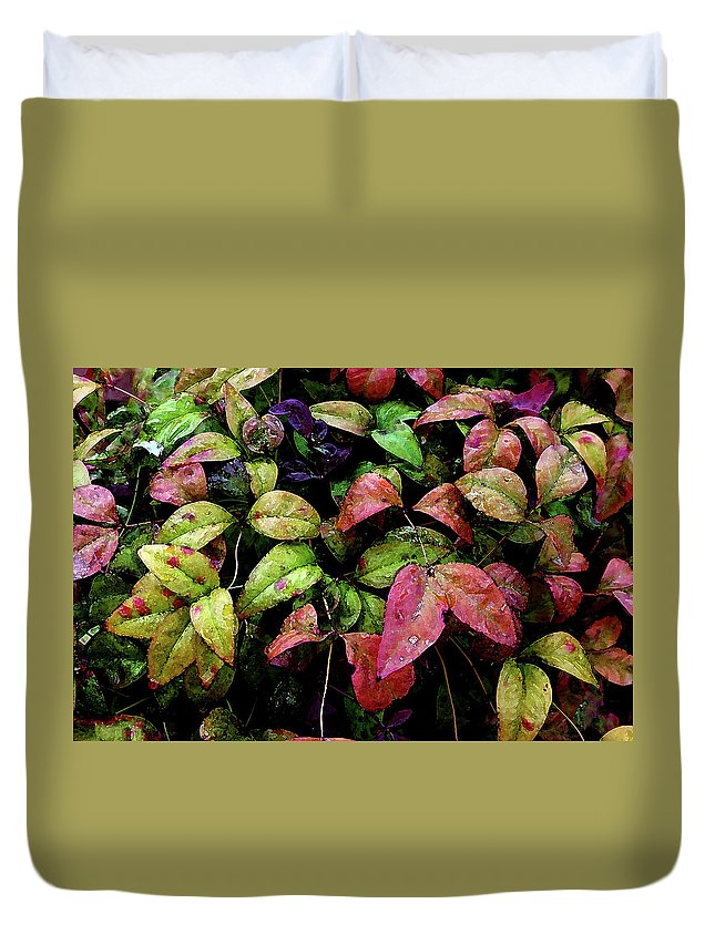 Watercolor Duvet Cover featuring the photograph Watercolor Colorful Leaves After A Shower 1771 W_2 by Steven Ward