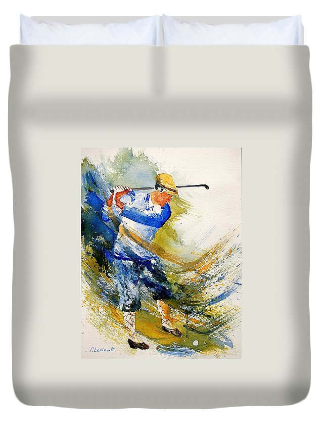 Golf Duvet Cover featuring the painting Watercolor Golf Player by Pol Ledent