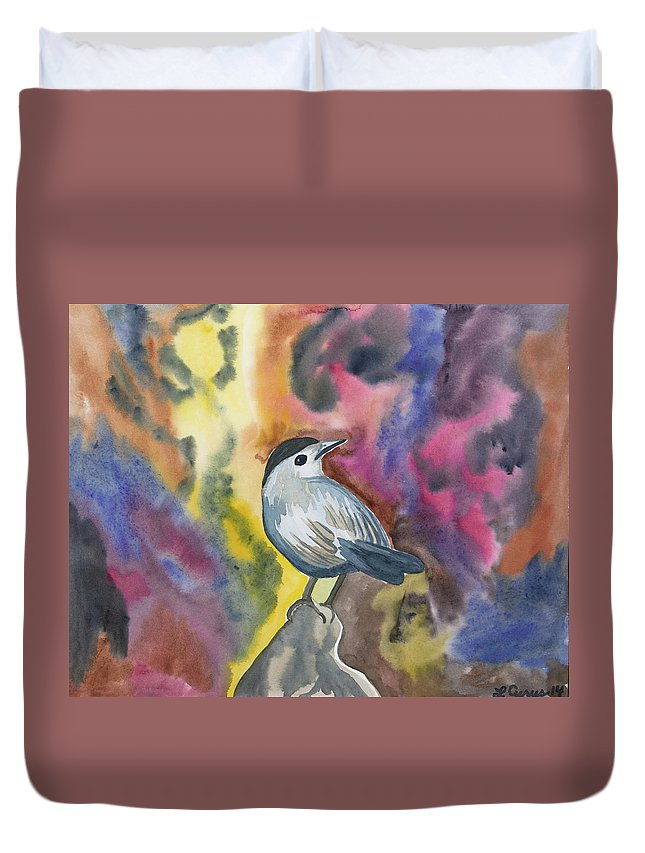 Gray Catbird Duvet Cover featuring the painting Watercolor - Gray Catbird by Cascade Colors