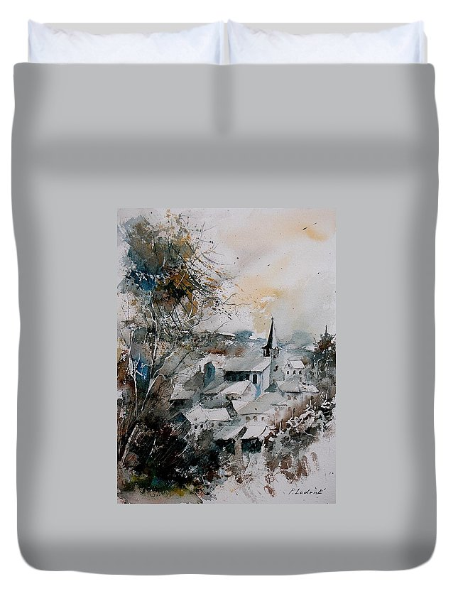 Winter Duvet Cover featuring the painting Watercolor Houyet by Pol Ledent