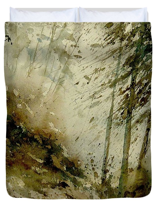 Landscape Duvet Cover featuring the painting Watercolor Misty Atmosphere by Pol Ledent