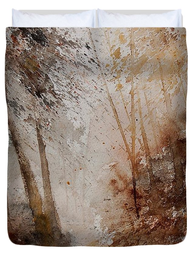 Landscape Duvet Cover featuring the painting Watercolor Misty Path by Pol Ledent