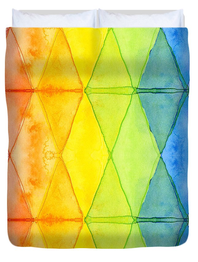 Triangles Duvet Cover featuring the painting Watercolor Rainbow Pattern Geometric Shapes Triangles by Olga Shvartsur
